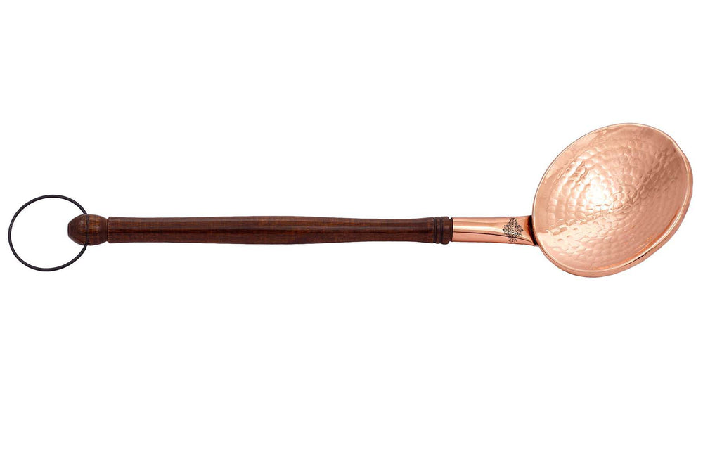 "Copper Hammered Serving Spoon With Wooden Handle And Hanging Ring,  15.5"" Inch,"