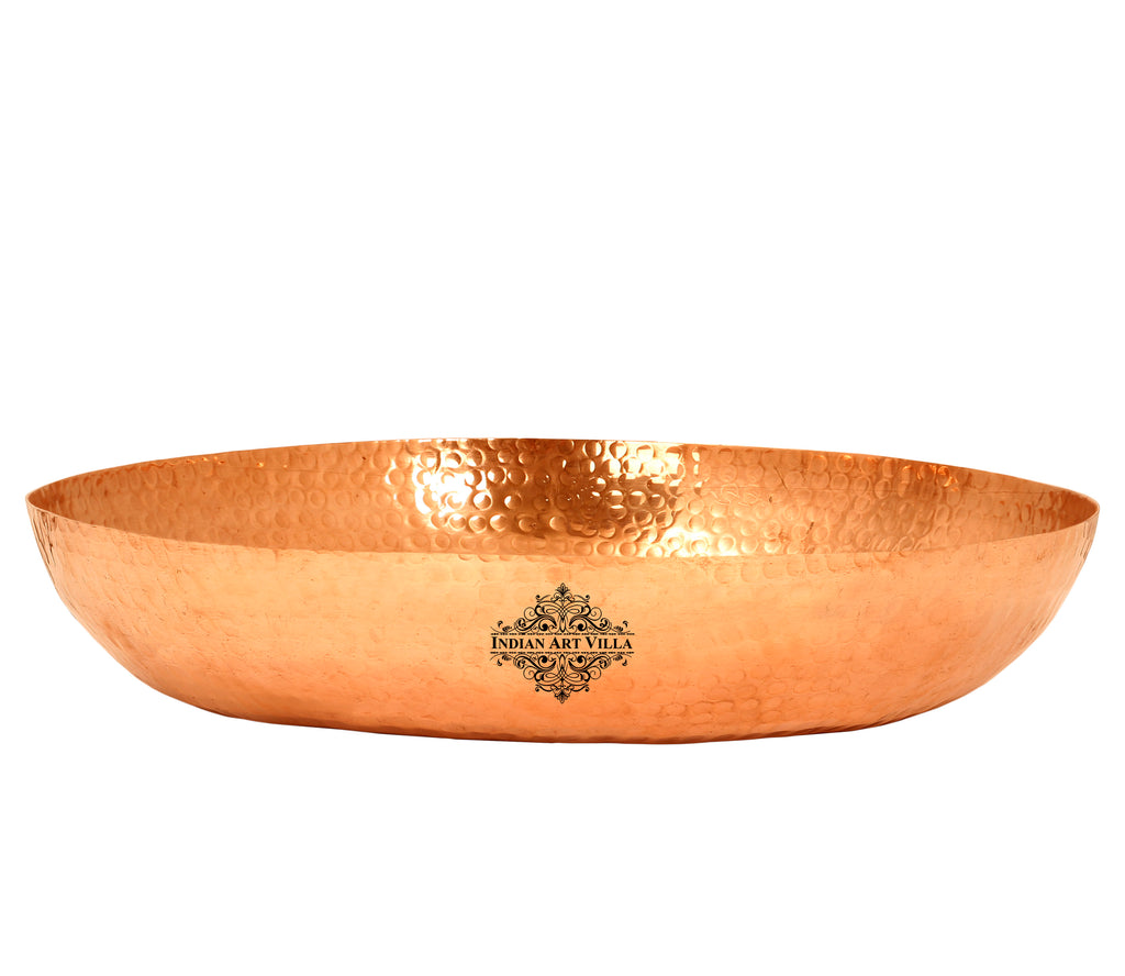 Copper Hammered Design Parat Platter, Heavy Parat, Brown