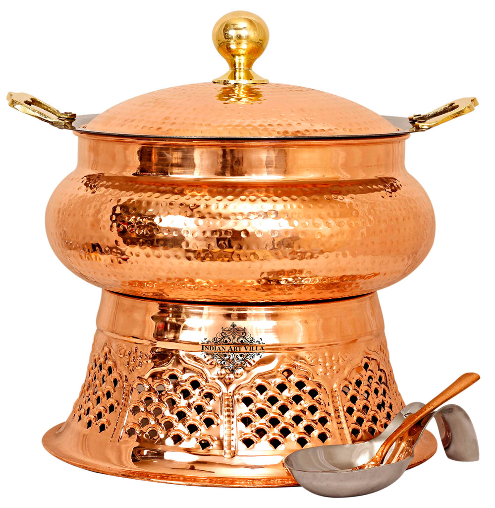 Steel Copper Hammered Chafing Dish with Stand & Serving Spoon, 6 Ltr.