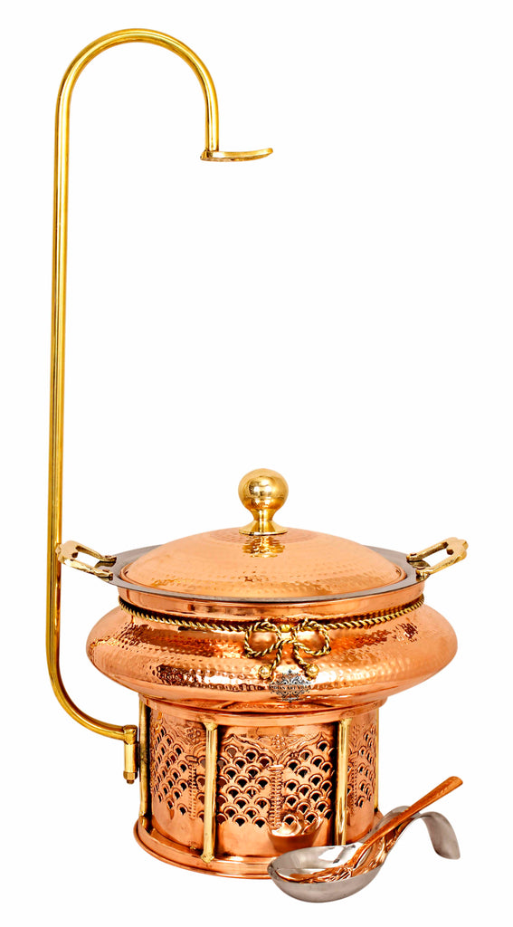 Steel Copper Hammered Chafing Dish with Sigdi Stand & Handle - 135.25 Oz  | 202.88 Oz | 270.51 Oz