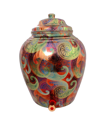 Copper Paisley Design Colourful Water Pot