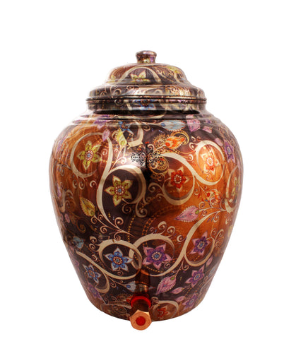 Copper Floral Design Brown Water Pot