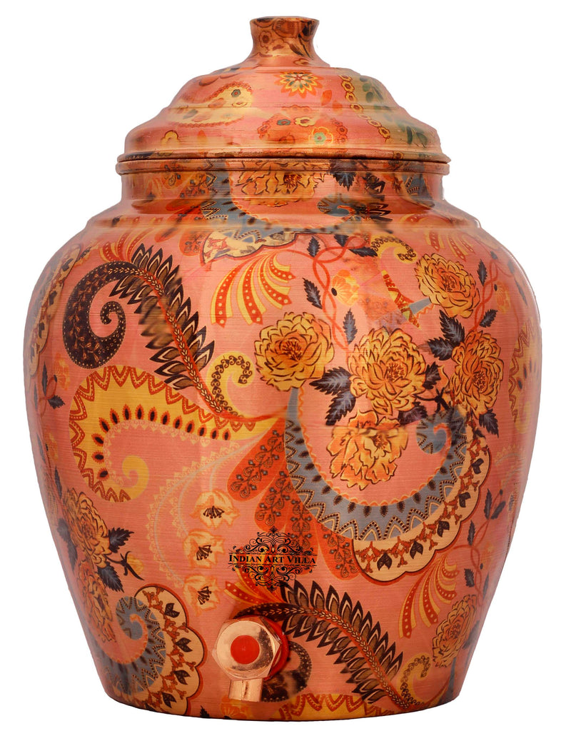 Copper Printed Designer Brown Water Dispenser Pot Matka