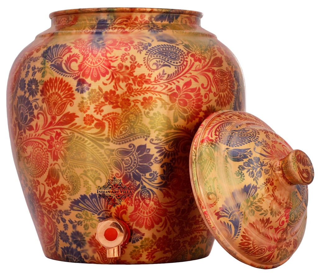 Copper Printed Floral Design Water Dispenser Pot Matka, Storage, Yellow