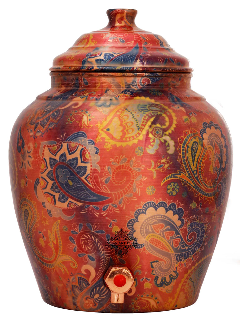 Copper Printed Paisley Design Water Dispenser Pot Matka, Storage, Red