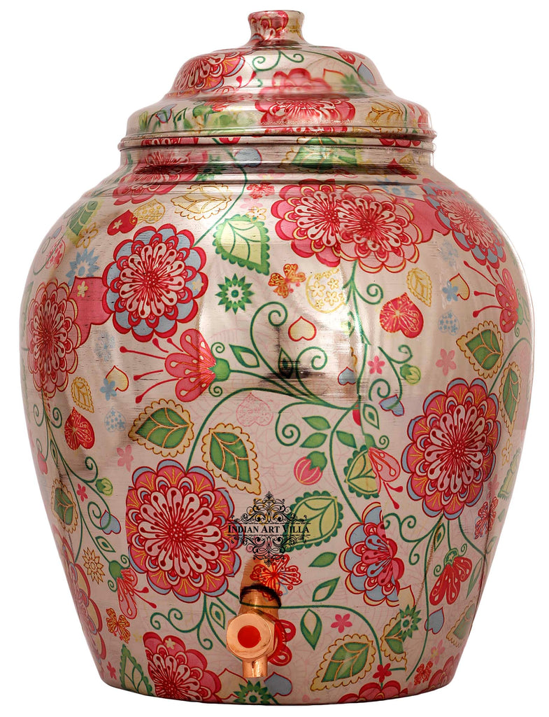 Copper Printed Flower Leaf Design Water Dispenser Pot Matka, Storage