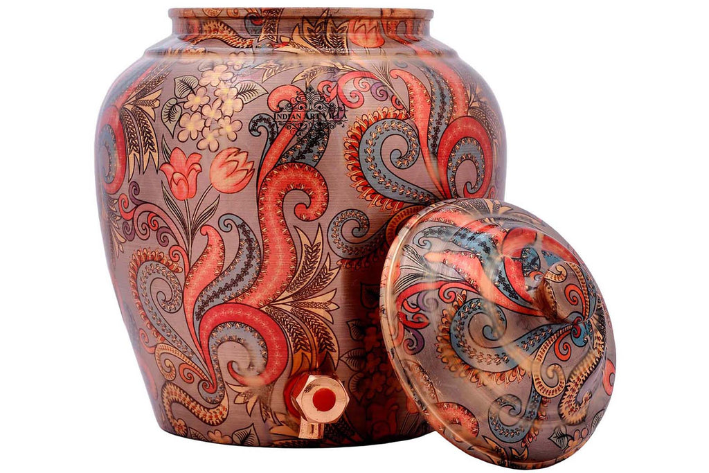 Copper Handmade Flower Leaf Design Water Pot