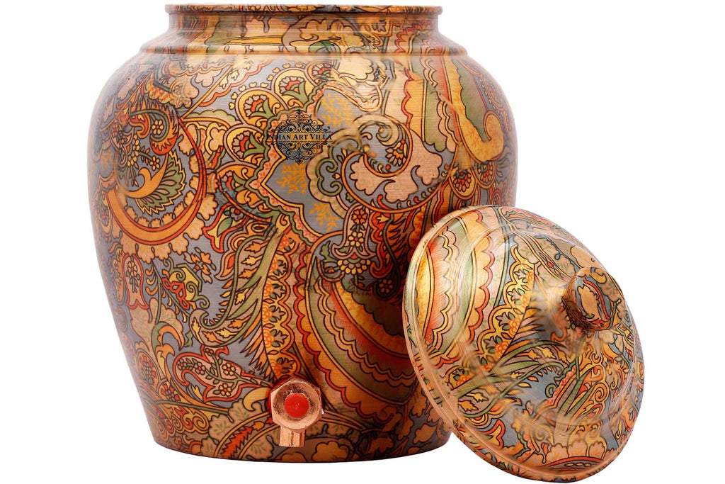 Copper Printed Flower Leaf Design Water Disnenser pot Matka