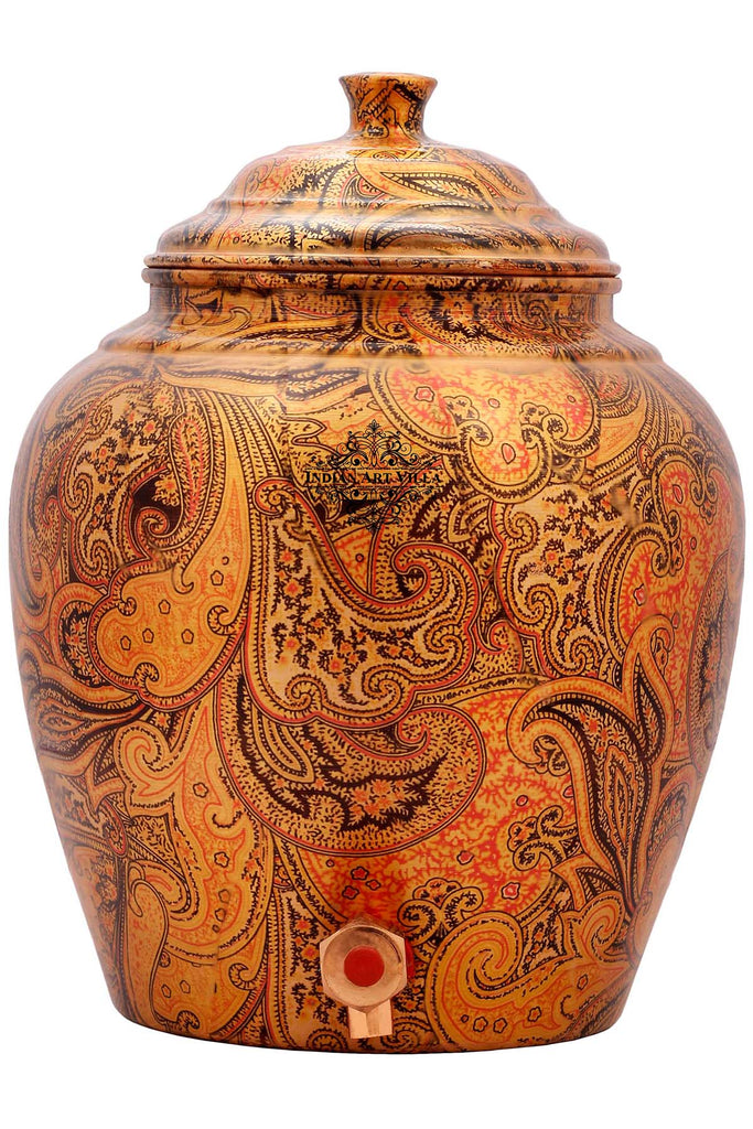 Copper Printed Flower Leaf Design Water Dispenser pot matka