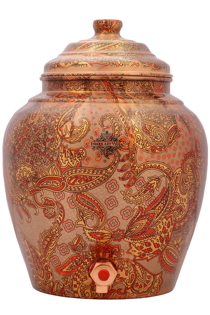 Copper Printed Flower Leaf Design Water Dispenser pot, storage
