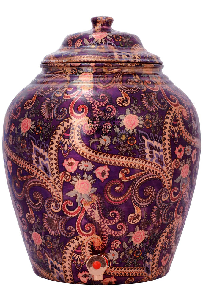 Copper Printed Flower Leaf Design Purple Water Dispenser Pot Matka, Storage