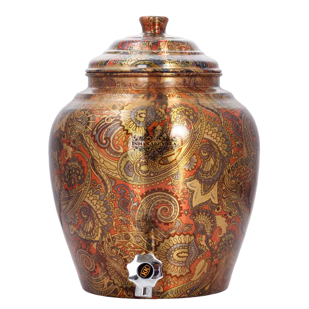 Printed Paisely Design Copper Water Dispenser Pot Matka Storage Home Kitchen Garden