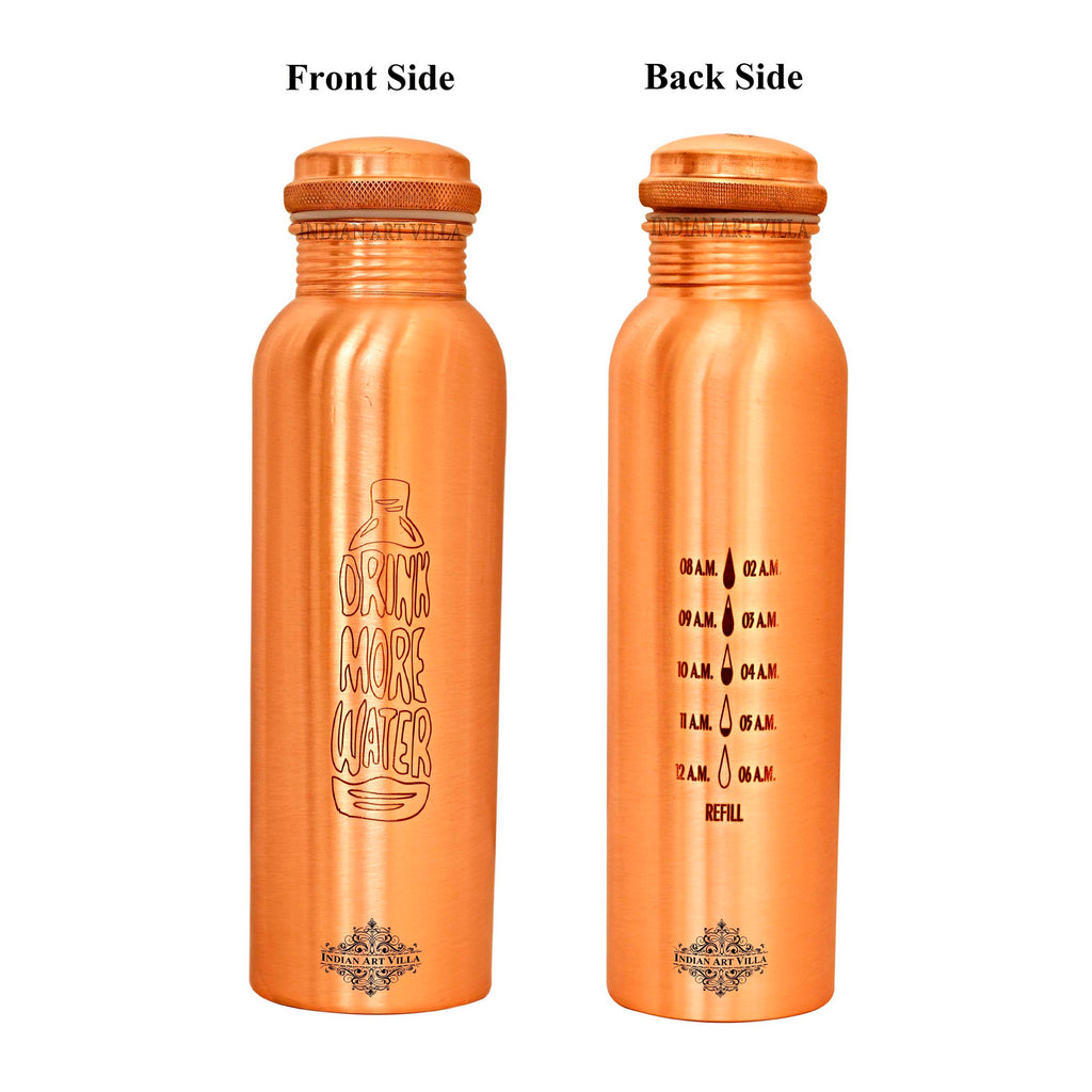 Copper Lacquer Bottle Engraved Both Side Bottle (Drink more & Drop water Meter...)