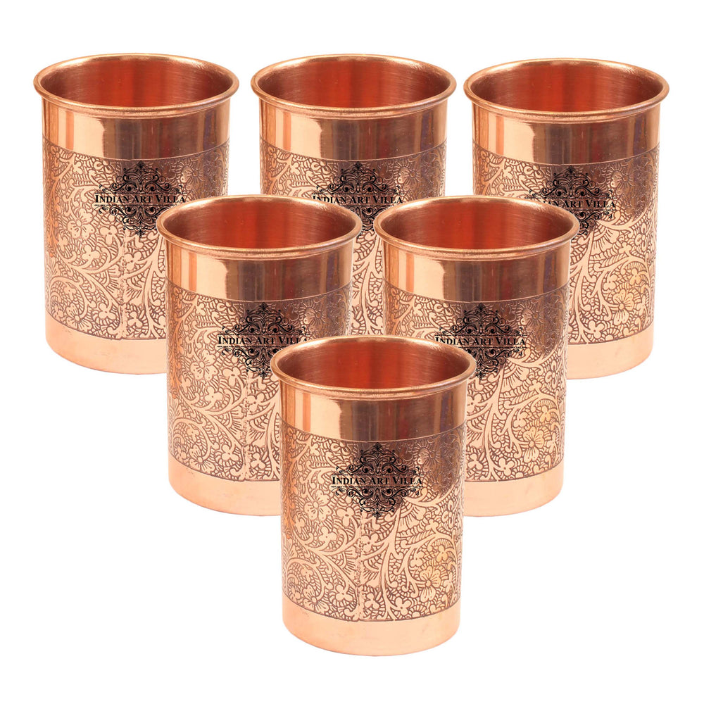 Copper Designer Glass Tumbler, Drinkware, Beneficial for Health, 10 Oz