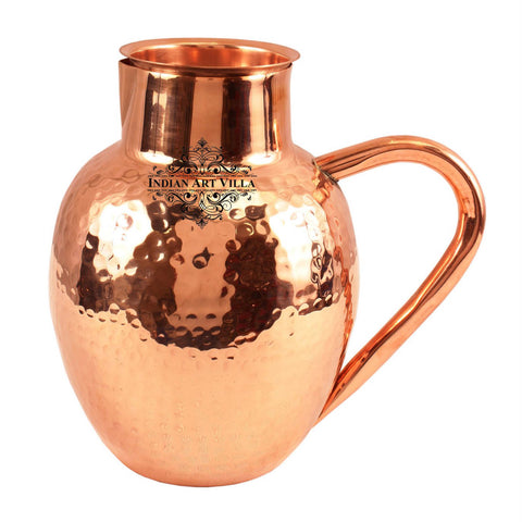 Copper Hammered Surai Design Jug 54 Oz - Storage Serving Water