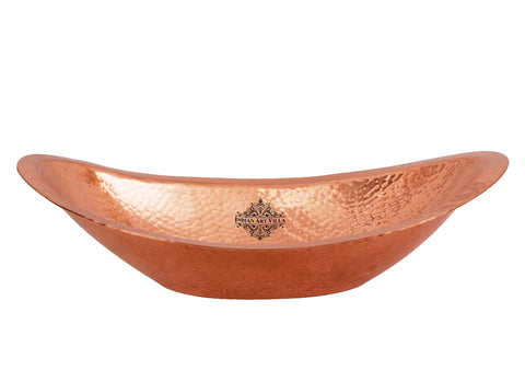 Copper Hammered Design Oval Bread Basket