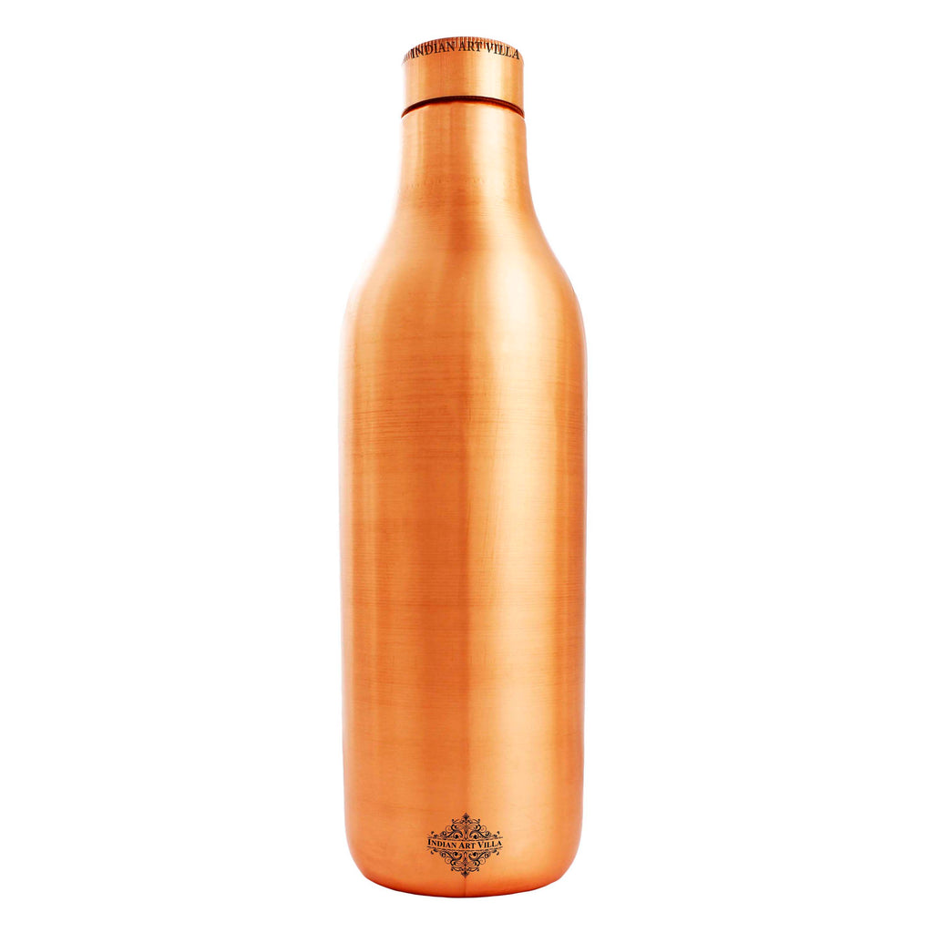 Copper Water Bottle, Lacquer Coated, Drinkware, 33 Oz, Brown