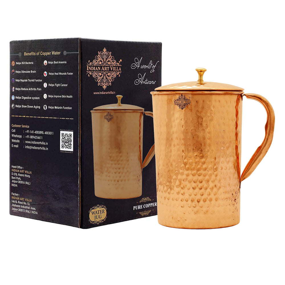 Pure Copper Pitcher Jug with lid, Hammered Design, Storage water