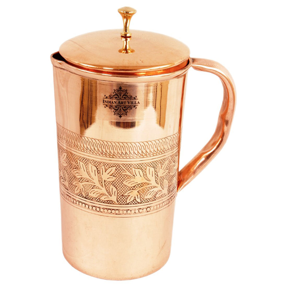 Pure Copper Embossed Designer Jug Pitcher With Brass Lid