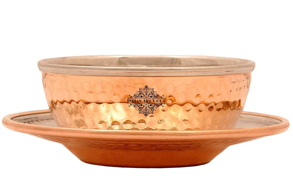 IndianArtVilla Copper Finger Bowl with Underliner 13 Oz - Serving Finger Indian Dishes