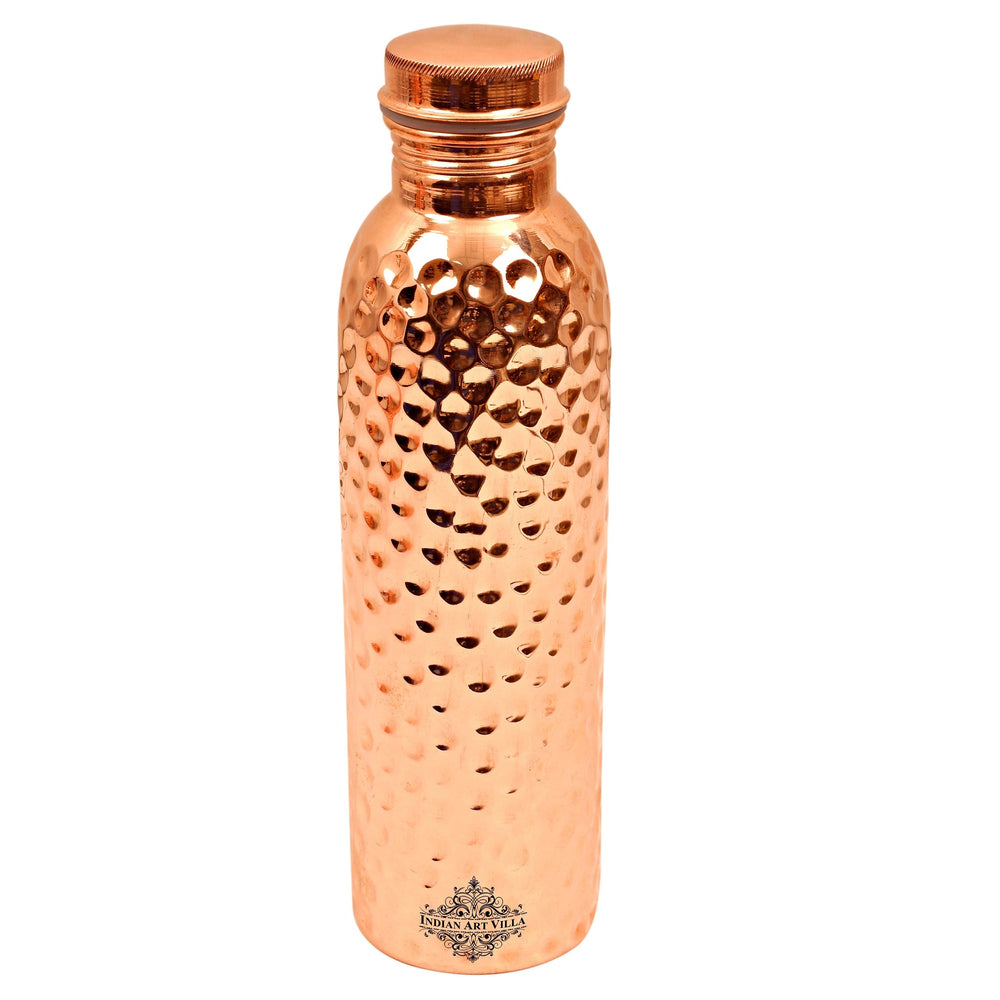 Copper Bottle, Handmade Hammered Design, Joint free Leak Proof Water Bottle