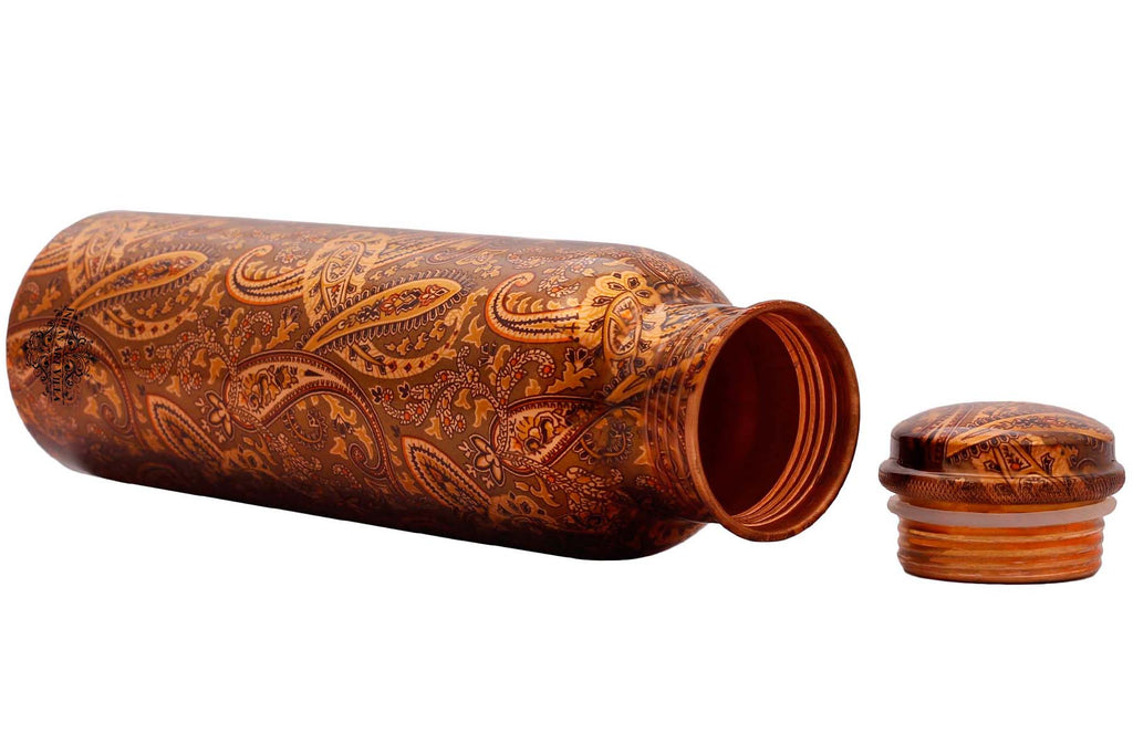 Copper Printed Paisley Design Bottle, 1000 ML