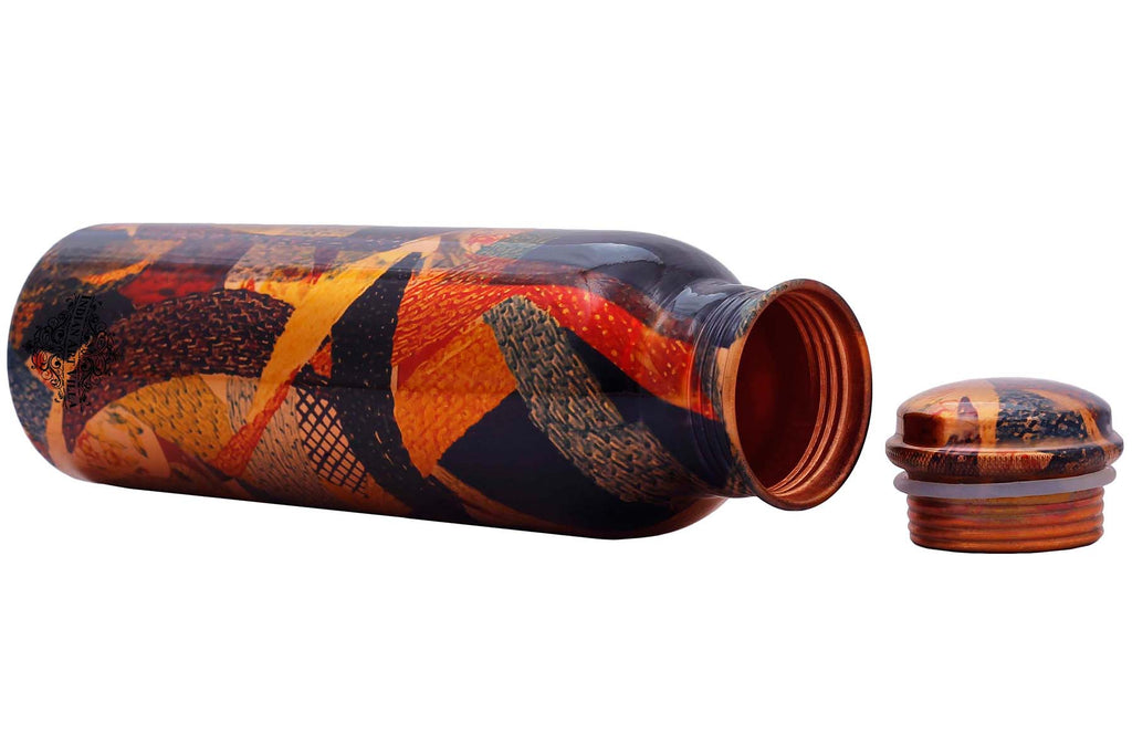 Copper Printed Water Bottle, Abstract Design, Drink-ware, 33 oz, Multicolor