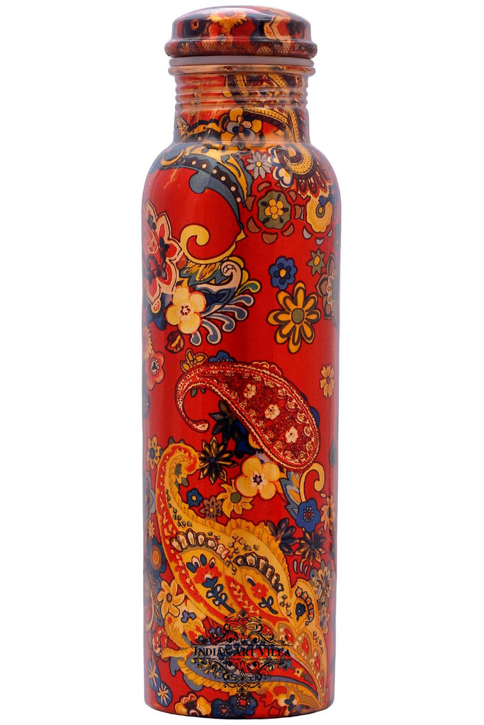 Copper Printed Water Bottle, Paisely Design, Drink-ware, 33 Oz, Red