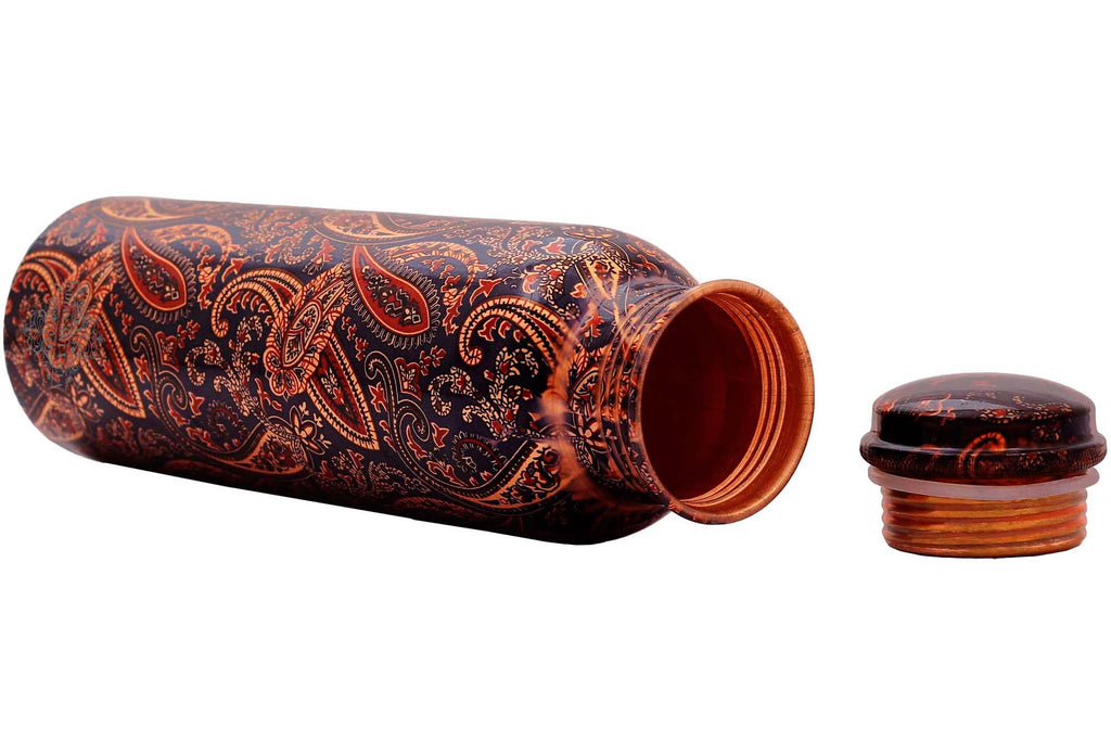 Copper Printed Paisley Design water Bottle 33 Oz