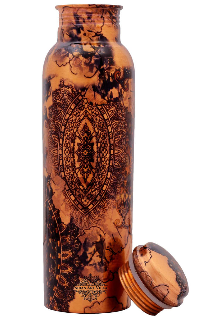 Copper Printed Water Bottle, Designer, Drink-ware, 33 Oz, Brown