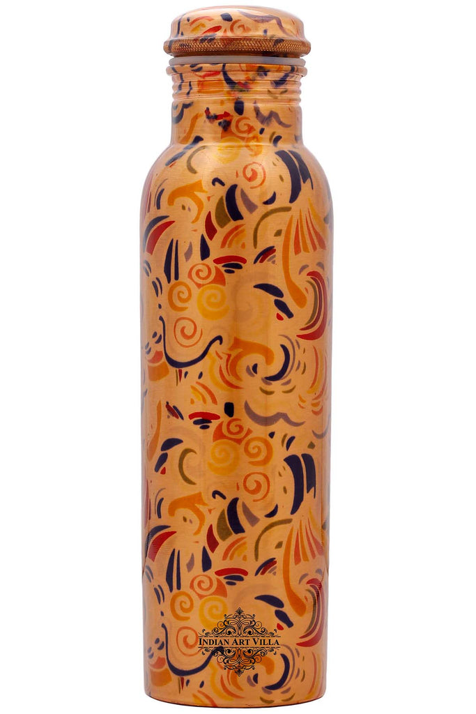 Copper Printed Water Bottle, Designer, Drinkware, 33 Oz, Yellow