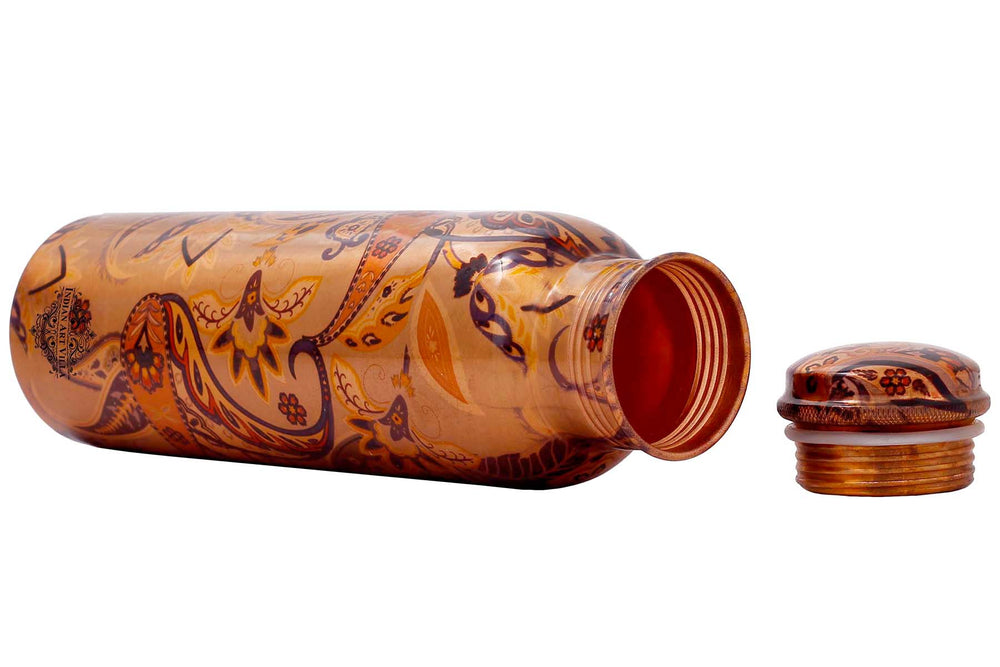 Copper Paisely Design Printed Water Bottle, Drinkware, Multicolor