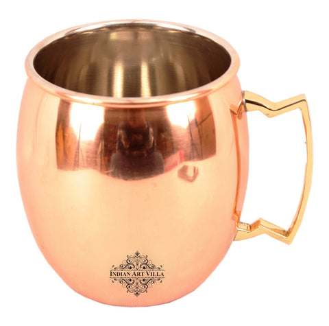 Handmade Copper Nickel Moscow Mule Mug With Brass Handle 21 Oz
