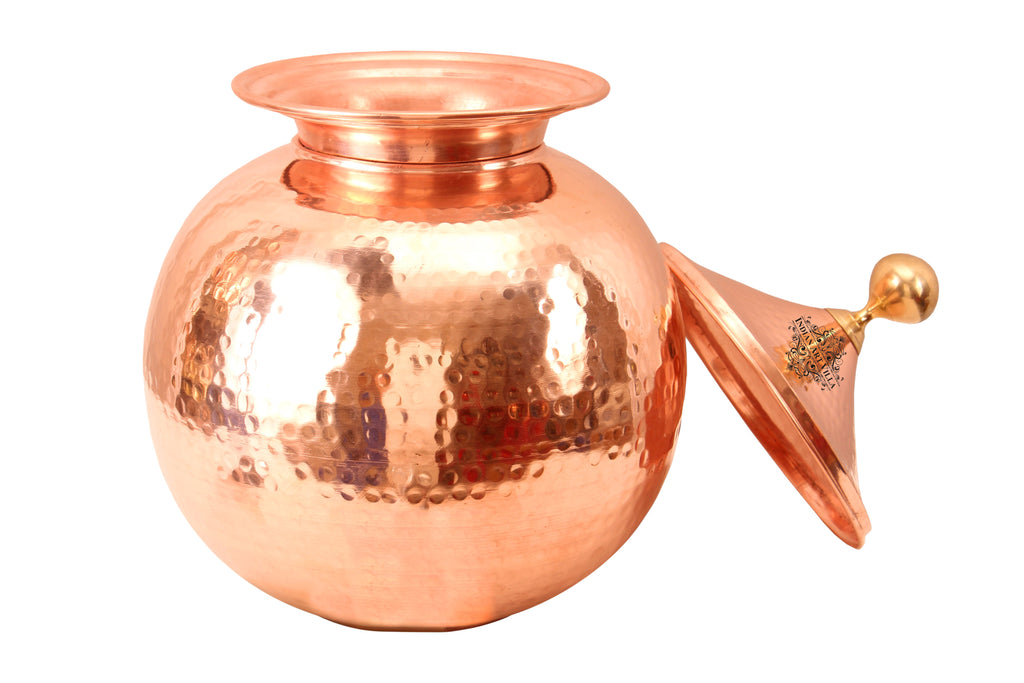 Copper Hammered Matka Water Pot Container with Mughlai Lid