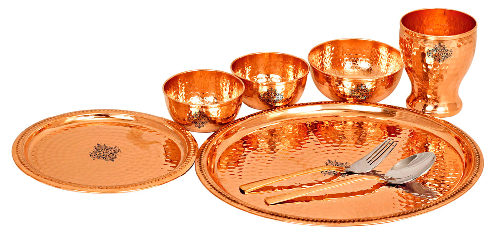Copper Hammered Dinner Set (8 Pieces), 12'' Inch