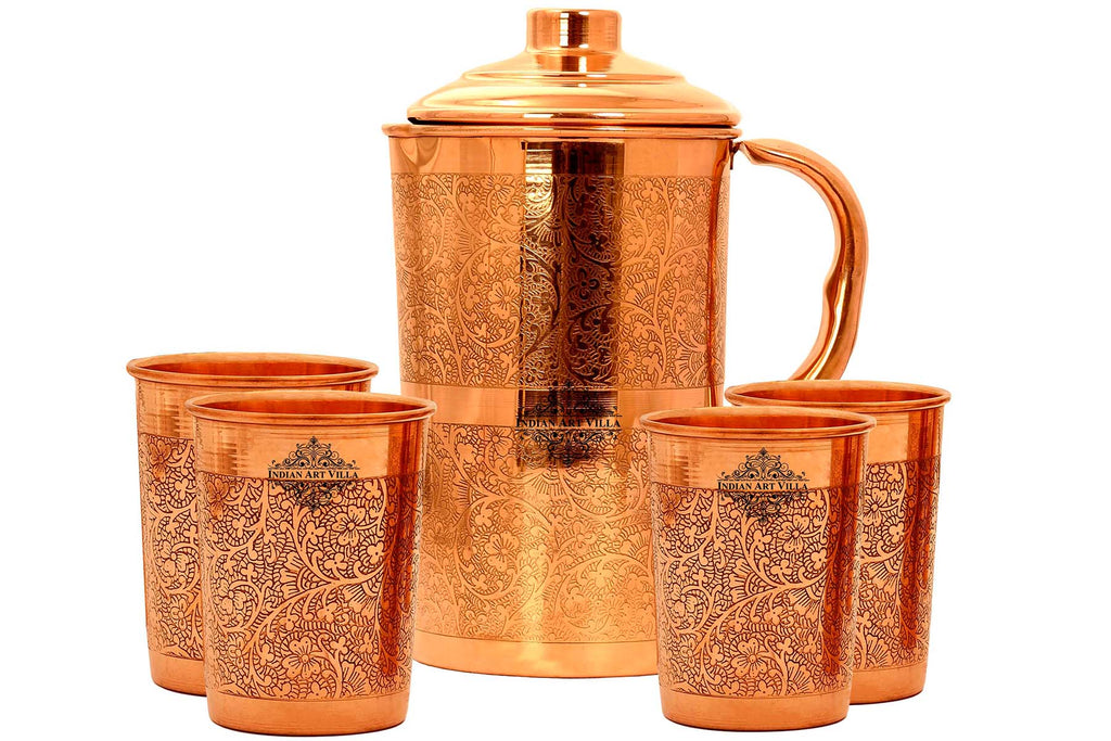 Copper Embossed Jug With 2 Glass