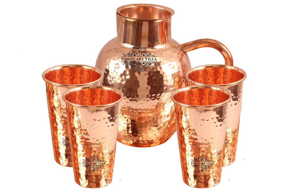 Copper Hammered Surai Design Jug With Glass