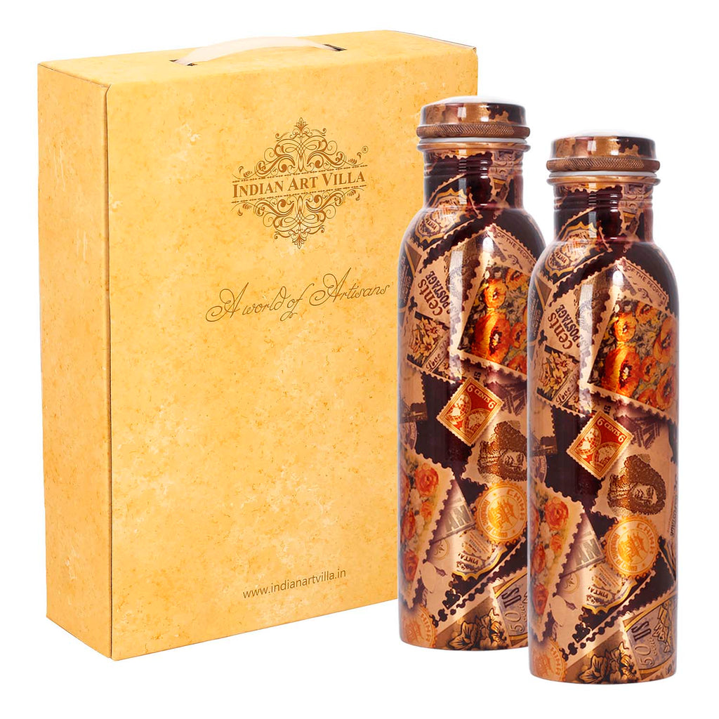 Pure Copper Set of 2 Bottle, Black, Diwali Anniversary Party Christmas Gift Set Box