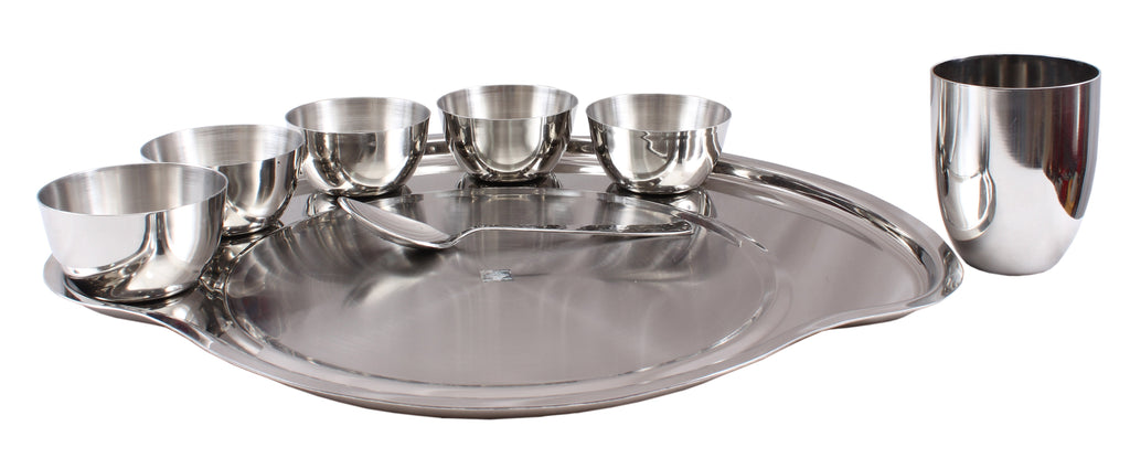 "Steel Hammered 8 Piece Thali Set (1 thali 12"", 3 Bowl, 1 Halwa Plate, 1 Dessert Spoon, 1 Flat Hammered Glass, 1 Dessert Fork)"