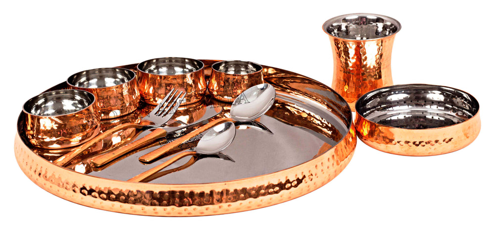 Steel Copper Hammered Curved Dinner Set of 11 Pieces