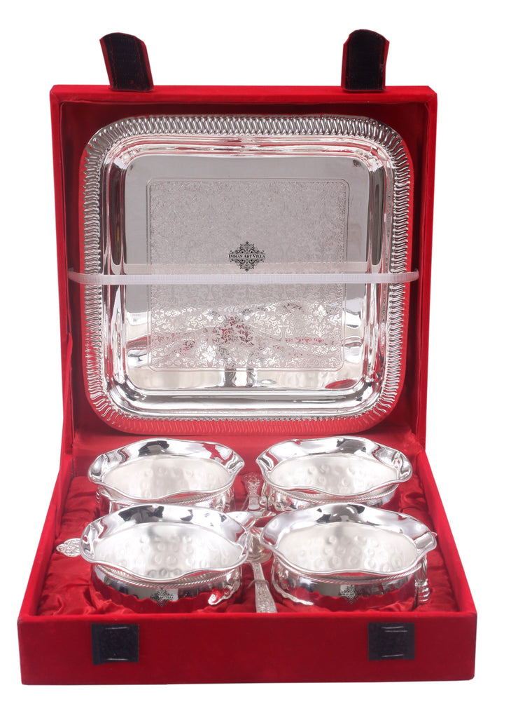 Silver Plated Set of 4 M Design Bowl with 4 Spoon & 1 Tray
