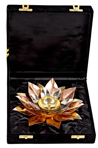Silver Gold Copper Plated Lotus Design Diya