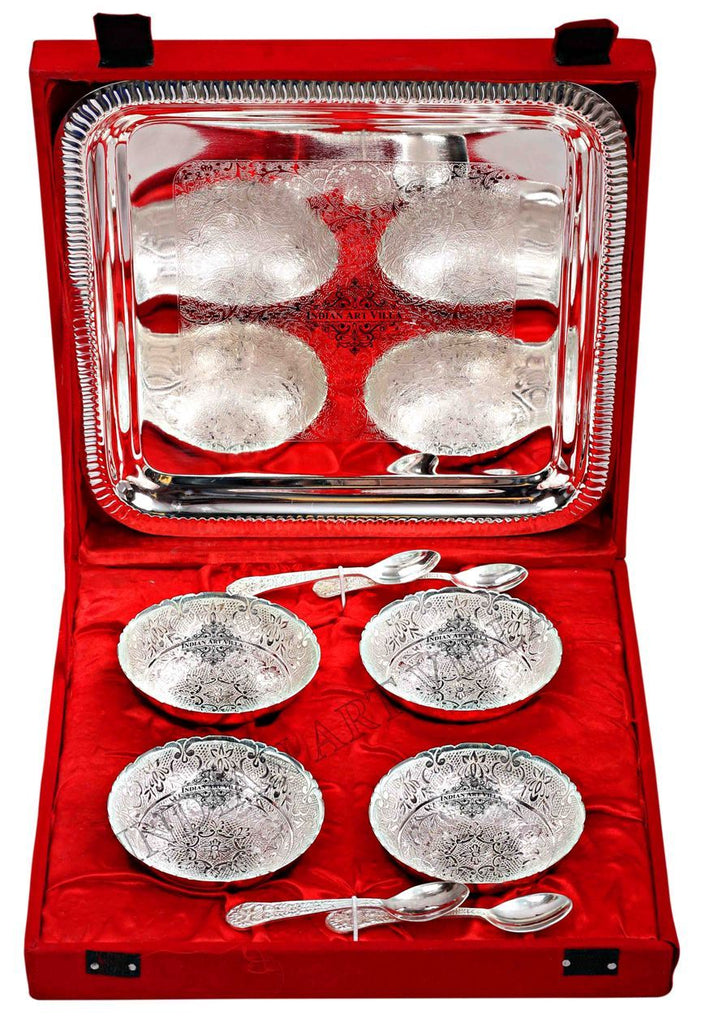 Silver Plated Set of 4 Designer Bowl & 4 Spoon & 1 Tray ( 9 Pieces )
