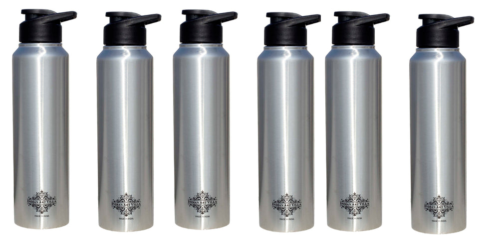 Steel Flat water Bottle Set of 6