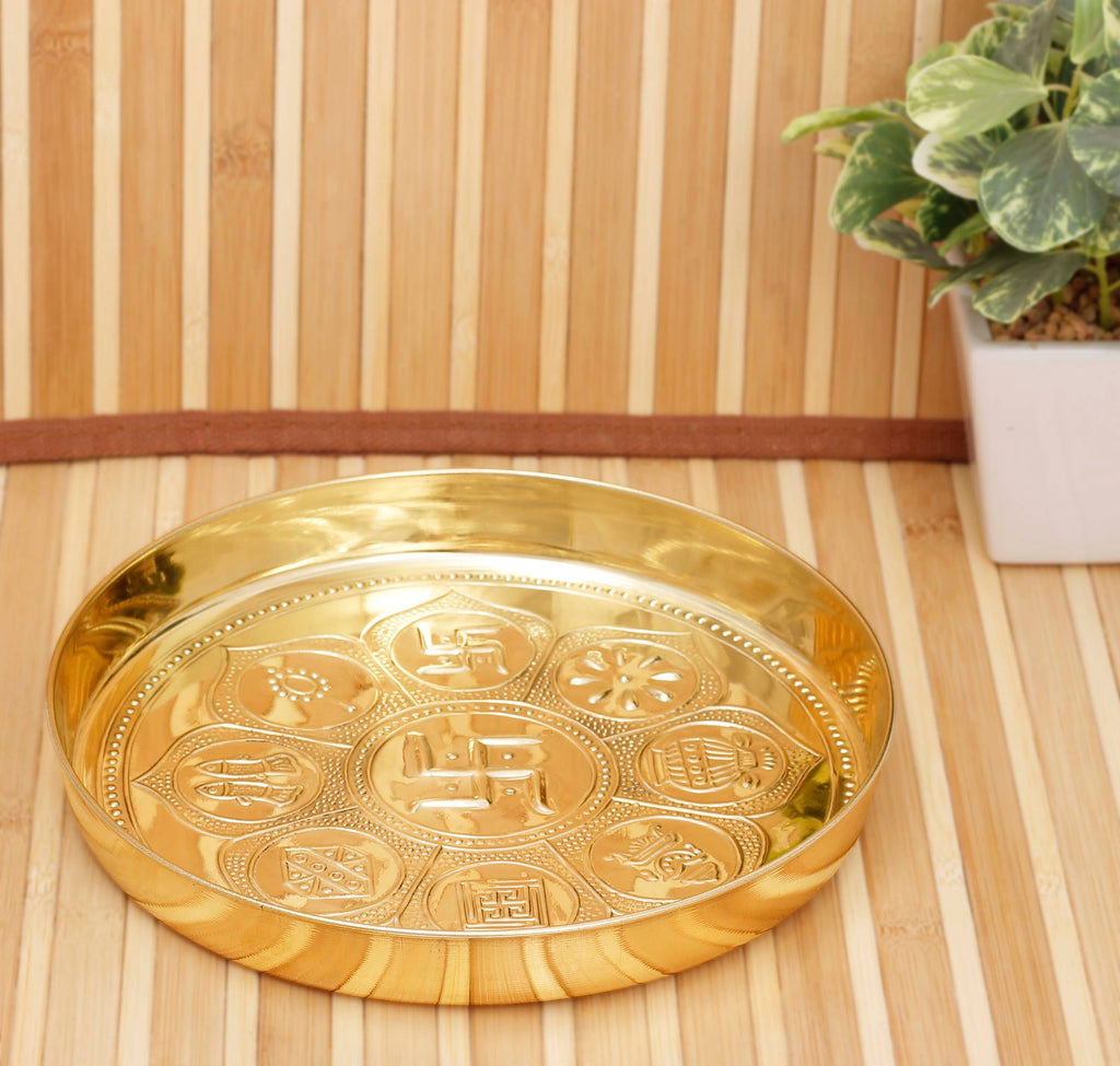 Astmanghal Brass Puja Thali Plate Platter, Religious Spiritual Item, Home Temple, 20 cm