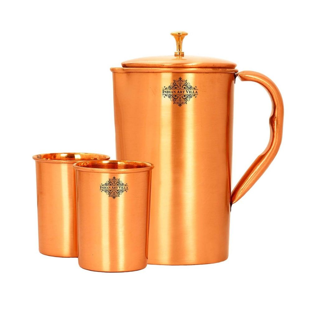 Copper Lacquer Coated Jug With Glass