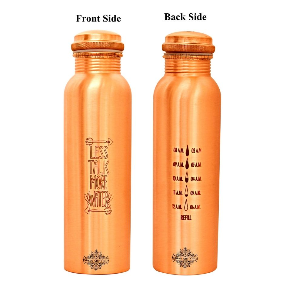 Copper Lacquer Bottle Engraved Both Side Bottle (Less Talk & Drop water Meter...)