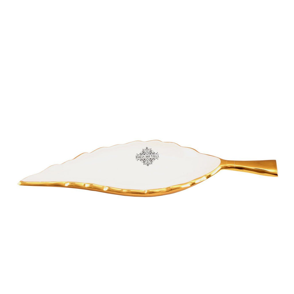 Aluminium Leaf Design Serving Tray|Serveware Tableware|Length 13.2 Inch Tray HR-3