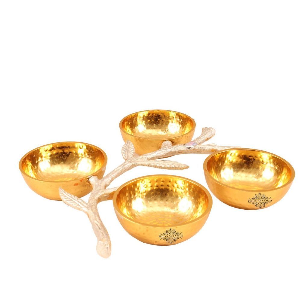 Aluminium Set of 4 Bowl with Bough Design Handle Bowls HR-3