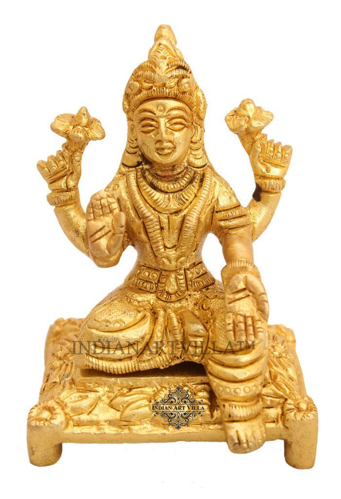 Beautiful Brass Goddess Laxmi for Home Decor Temple Puja Gift Item